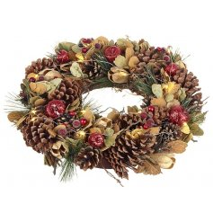 Autumnal Christmas Wreath With LED lights, Large