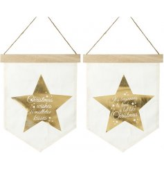 An assortment of 2 gold star hanging flags featuring Christmas sayings