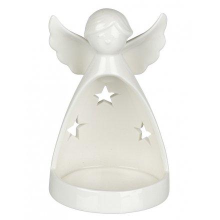 White Angel Ceramic Tealight Holder