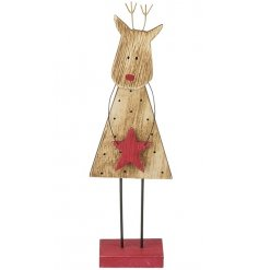A rustic wooden reindeer with a Rudolph red nose and red star