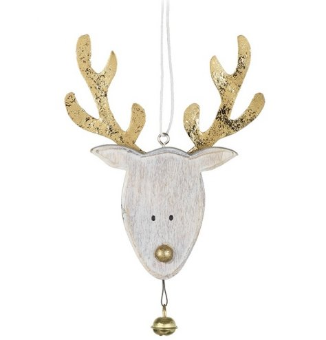 A white washed wooden reindeer decoration with a gold painted nose and distressed gold metal antlers.