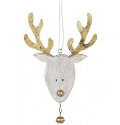 Reindeer Head Hanging Decoration In Wood And Gold