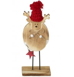 Wood reindeer decoration with red knitted pom pom bobble hat