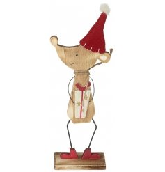 A mouse holding a Christmas present wooden standing decoration