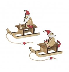 Two Wooden Christmas Decorations Featuring Santa On A Sleigh