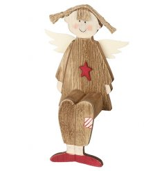 Wooden sitting angel with red star