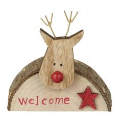 Rustic bark reindeer welcome sign table decoration