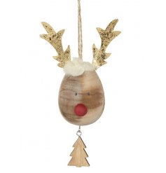 Wood Reindeer Head Hanging Decoration With Christmas Tree Charm