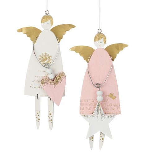 Pretty pink and white hanging angel decorations with shabby chic gold Christmas script and painted festive symbols.