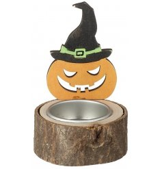 A scary pumpkin witch tealight holder