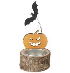 Spooky Pumpkin And Bat Halloween Tealight Holder