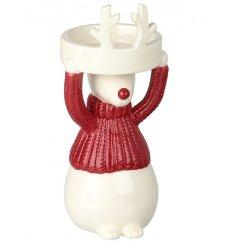 Reindeer In Red Jumper Tealight Holder