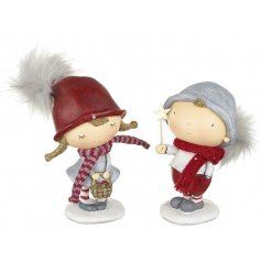 2 Assorted Boy And Girl Winter Hats Standing Figurines