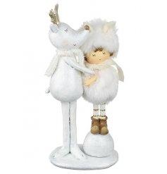 Reindeer Cuddles Little Girl Christmas Figurine