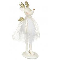 A sweet white reindeer standing figurine with gold angel wings
