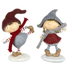 Boy and Girl in Snowball Fight Figurines