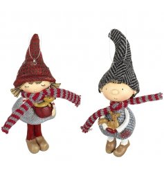 2 Assorted Little Boy And Girl Hanging Decorations Holding Tiny Woodland Creatures