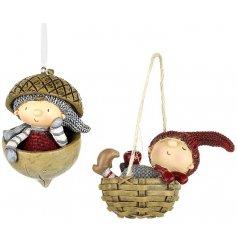 An assortment of 2 woodland boys hanging decorations
