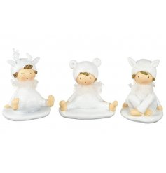 3 sweet sitting resin figures, perfect for a white winter wonderland