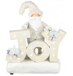 A friendly standing santa surrounded by woodland friends will stand proudly with this LED illuminating Joy sign