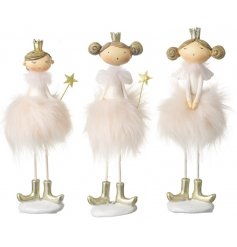 3 sweet standing ballerina figures complete with golden accents and pink pom pom skirts