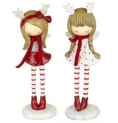 Standing Christmas Figurines of Girls In Stripy Red Tights, 2 Assorted