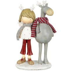 A boy with his reindeer Christmas Figurine