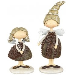These 2 assorted standing resin angels will look great with any woodland theme