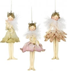 A charming set of 3 fairies with petal skirts to hang in your tree to add that woodland touch