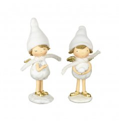 2 sweet little resin angel figures that will stand in perfectly with any White Winter Wonderland