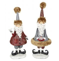 A mix of 2 grey and red traditional standing Santa ornaments with a twist. Complete with decorative outfits and fur trim