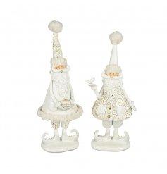 Resin White&Gold Standing Santa