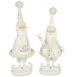 Resin White&Gold Standing Santa