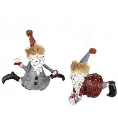 A stylish set of little hanging resin santas, perfect to put in any decorated tree