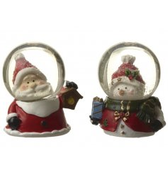 A sweet assortment of a santa and snowman themed snowglobe