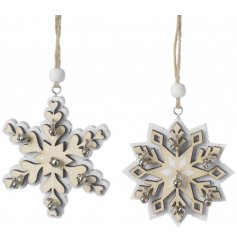 These double wooden snowflake and star decorations will add a delicate touch of simplicity