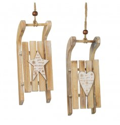 This simple assortment of two hanging wooden sledges will bring a calming festive feel to any tree this year