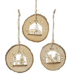A sweet assortment of 3 decorative wooden hanging tree decorations.