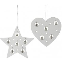 Complete with delicate little hanging bells inside, these heart and star assorted hangers will look simple and beautiful