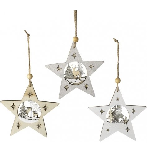 Beautifully detailed wooden star decorations with an intricate, layered woodland scene inside.