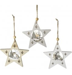 An assortment of 3 star shaped hanging decorations, each with a 3D woodland reindeer scene.