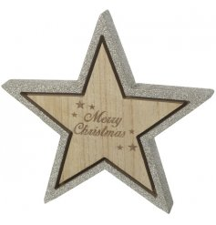 A wooden 3D Merry Christmas star with a gold glitter finish.