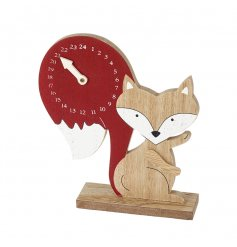 An adorable wooden fox advent calendar with a countdown on his bushy tail.