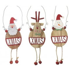 A mix of 3 hanging wooden santa, snowman and reindeer decorations