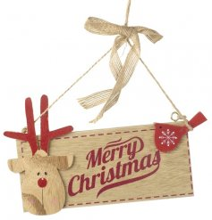 A charming red and natural wooden reindeer design Christmas sign with a Merry Christmas slogan.