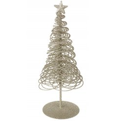 A sparkling gold glitter wire tree with a star topper. A fabulous decoration for the home this season.