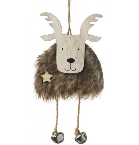A rustic wooden reindeer hanger with a fluffy faux fur body and string dangling legs with silver jingle bell feet.
