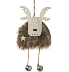 An adorable wooden and faux fur hanging moose decoration with silver bells.