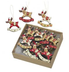 A set of 18 red and gold rocking wooden reindeer ornaments with hanger.
