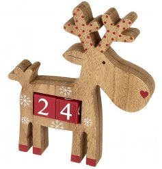 A nordic style wooden and red painted reindeer countdown calendar. A must have this season!